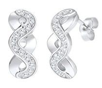 Damen-Ohrstecker Infinity Unendlichkeit 925 Sterling-Silber Zirkonia weiß Facettenschliff