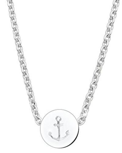 Damen Schmuck Halskette Kette mit Anhänger Anker Maritim Hanseatisch Silber 925 Länge 45 cm