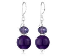 Damen Ohrhänger Edelstein 925 Sterling Silber Amethyst violett Perlenschliff 312850512