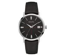 Classic Aerojet 96B243 - Herren Designer-Armbanduhr - Armband aus Leder - Schwarz