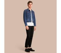 Kurze Jeansjacke mit Frontreißverschluss