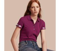 Poloshirt aus Stretchbaumwollpiqué mit Check-Besatz