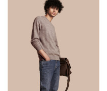 Leichter Pullover aus Seide und Wolle in Jacquard-Webung mit Check-Muster