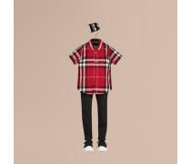 Kurzärmeliges Hemd aus Baumwolltwill mit Check-Muster