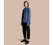 Unisex-Baumwollhemd mit Biesendetail und Umschlagmanschetten