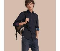 Hemd aus Stretchbaumwolle mit Check-Detail