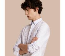 Baumwollhemd mit Button-down-Kragen und Oxford-Streifen