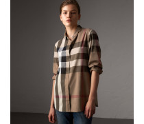 Baumwollbluse mit Check-Muster