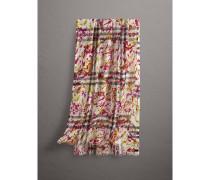 Leichter Schal aus Wolle und Seide im Karo- und Farbklecks-Design