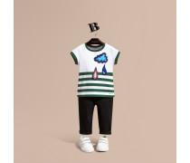 Baumwoll-T-Shirt mit Streifen und Applikation