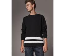 Sweatshirt aus einer Baumwollmischung mit Streifen am Saum
