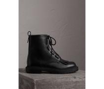 Stiefel aus genarbtem Leder mit Fransendetail und Reißverschluss