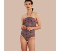 Neckholder-Badeanzug mit geometrischem Kachelmuster