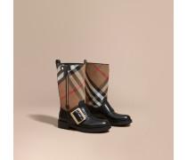 Stiefel aus Leder und House Check-Gewebe mit Schnallendetail