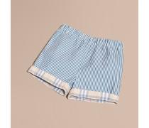 Gestreifte Shorts aus einer Baumwollmischung mit Karodetail an den Beinabschlüssen