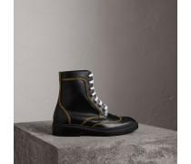 Stiefel aus Leder mit Schnürverschluss und Steppnahtdetails