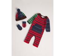 Dreiteiliges Baby-Geschenkset aus Wolle und Kaschmir im Fair Isle-Design
