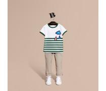 Baumwoll-T-Shirt mit Streifen und Wettermotivapplikation