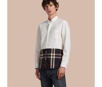Hemd aus Stretch-Baumwollpopelin mit Karopanel