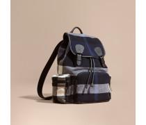 The Large Rucksack aus einer Wollmischung mit Karomuster und Lederbesatz