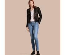 Eng geschnittene Jeans mit niedriger Leibhöhe in Vintage-Waschung