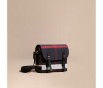 Messenger-Tasche mit Canvas Check-Muster und Lederbesatz