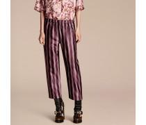 Hose Im Pyjamastil Aus Baumwolle Und Seidensatin Mit Panamastreifen Und Kürzerer Beinlänge