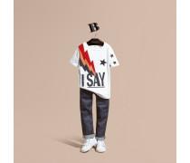Baumwoll-t-shirt Mit I Say-grafik, Stickerei Und Flockdruck