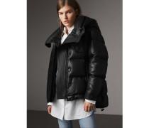 Wattierte Jacke aus Lammleder mit abnehmbarer Kapuze
