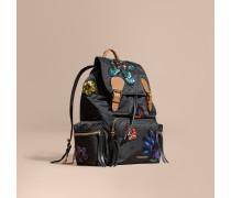 The Large Rucksack aus technischem Nylon mit floralem Paillettenmuster