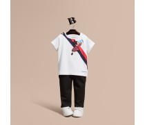 Baumwoll-t-shirt Mit Wettermotiv-applikation Und Pailletten