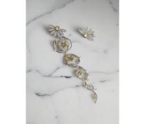 Set mit langem kristallbesetztem Gänseblümchen-Ohrhänger und -Stecker