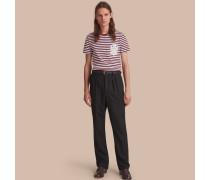 Baumwoll-T-Shirt mit Breton-Streifen und Spitzenapplikation