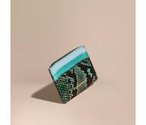 Kartenetui aus Leder und Natternleder im Colour-Blocking-Design