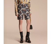 Shorts im Pyjamastil aus Seidentwill mit Burgmotiv