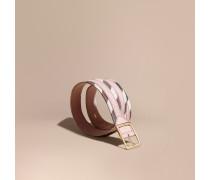 Wendbarer Gürtel aus House Check-Gewebe und genarbtem Leder