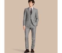Schmal geschnittener Part-Canvas-Anzug aus Wolle, Leinen und Seide mit Hahnentrittmuster