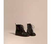 Brogue-stiefel Aus Lackleder Mit Schnürverschluss