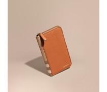 Brieftasche mit umlaufendem Reißverschluss aus House Check-Gewebe und genarbtem Leder