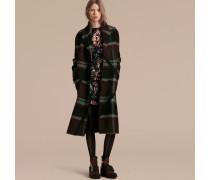Ungefütterter, zweireihiger Mantel aus Wolle mit Schottenmuster