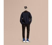Pullover aus Merinowolle mit Check-Ellenbogenpatch