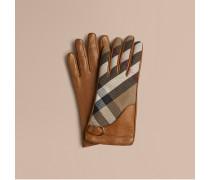 Lederhandschuhe mit House Check-Muster