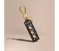 Schlüsselanhänger aus Leder in Zaumzeug-Optik mit Ziernieten