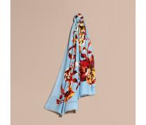 Schal aus Modal und Kaschmir mit Pfingstrosengrafik