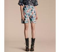 Shorts aus Baumwollseide im Pyjamastil mit Rosenmotiv in Aquarelloptik
