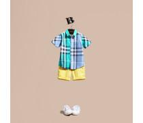 Kurzärmeliges Baumwollhemd mit kontrastierendem Karomuster