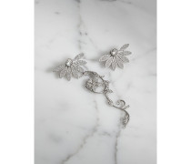 Set mit kristallbesetztem Gänseblümchen-Ohrhänger und -stecker