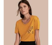 T-Shirt mit Pythonmusterdetail