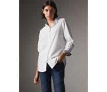 Bluse aus Stretchbaumwolle mit Check-Detail