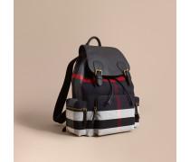 The Large Rucksack aus Canvas Check-Gewebe und Leder